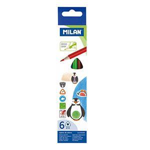 Zīmuļi krāsainie 6 krāsas trīsstūrveida Milan