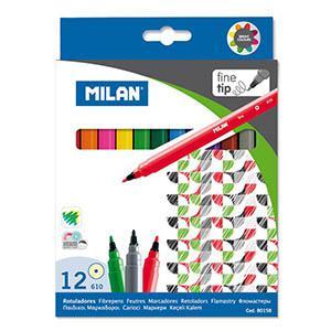 Flomāsteri 12 krāsas d=2mm fine tip, Milan