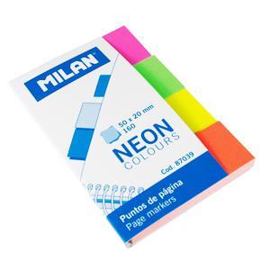 Indeksi MILAN 20x50mm NEON 4 krāsas x 40 lapas,  papīra