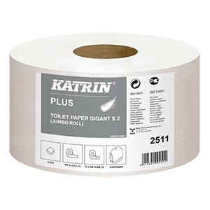 Tualetes papīrs Plus KATRIN Gigant S2,  2 slāņi,  100m,  balts
