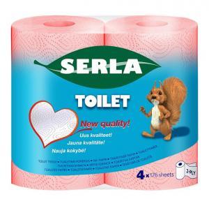 Tualetes papīrs SERLA rozā 21.3m,  4 ruļļi,  2 slāņi