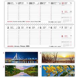 Galda kalendārs OPTIMA,  2 nedēļas,  kartona vāki,  2018g.