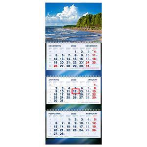 Sienas kalendārs STANDART Plus,  ezers,  trīsdaļīgs