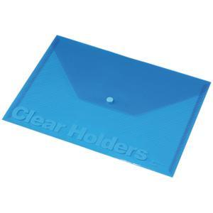 Mape ar pogu A4 Focus,  Panta Plast,  caurspīdīgi zila