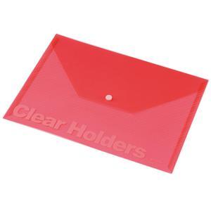 Mape ar pogu A4 Focus,  Panta Plast,  caurspīdīgi sarkana