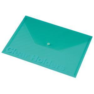 Mape ar pogu A4 Focus,  Panta Plast,  caurspīdīgi zaļa