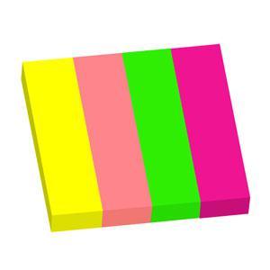 Indeksi 18x75mm,  100 lapiņas 4 neon krāsas,  papīra