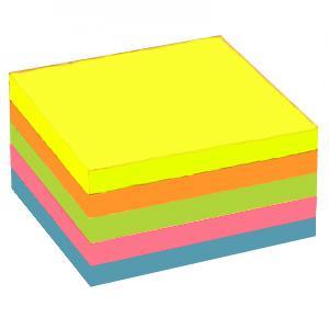 Līmlapiņas 76x76mm,  400 lapas,  asorti neona krāsas