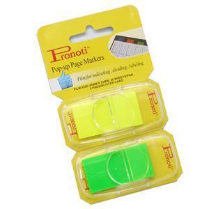 *Indeksi 25x48mm 2 krās.x20 gab.dzelteni/zaļi