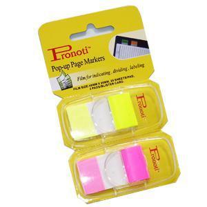 *Indeksi 25x48mm 2 krās.x20gab.dzelteni/rozā