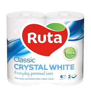 Tualetes papīrs RUTA Classic,  4 ruļļi,  2 slāņi,  balts