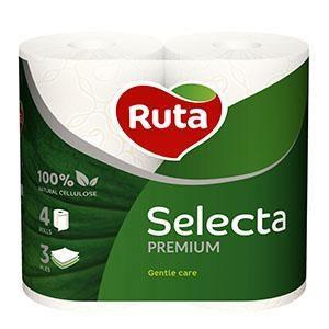 Tualetes papīrs RUTA Selecta Premium 4 ruļļi,  3 slāņi,  balts