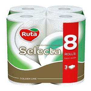 Tualetes papīrs RUTA Selecta Premium 8 ruļļi,  3 slāņi,  balts
