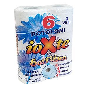 *Tualetes papīrs Soffigen balts 6 ruļļi 3 slāņi Italija