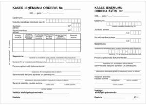 Kases ieņēmumu orderis ar kvīti,  A5 formāts,  100 lapas