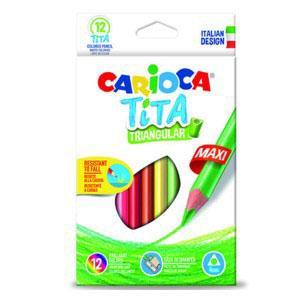 Krāsainie zīmuļi CARIOCA MAXI,  trīsstūrveida,  12 krāsas