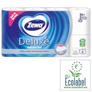 Tualetes papīrs ZEWA Deluxe Pure White 3 kārtu,  8 ruļļi