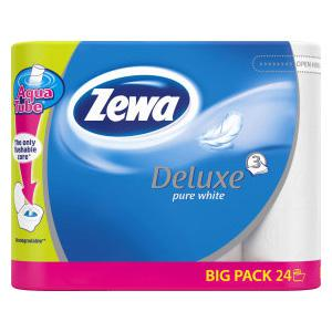 *Tualetes papīrs ZEWA DeLuxe Pure White 3 kārtu,  24 ruļļi